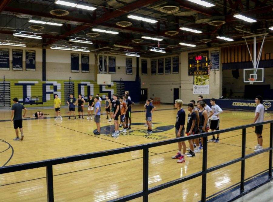 The boys varsity basketball team take part in their first practice as the season draws closer.
