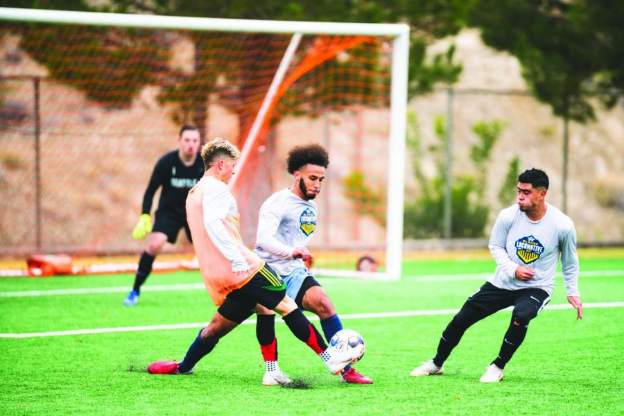 Players try out for the El Paso Locomotive soccer team.