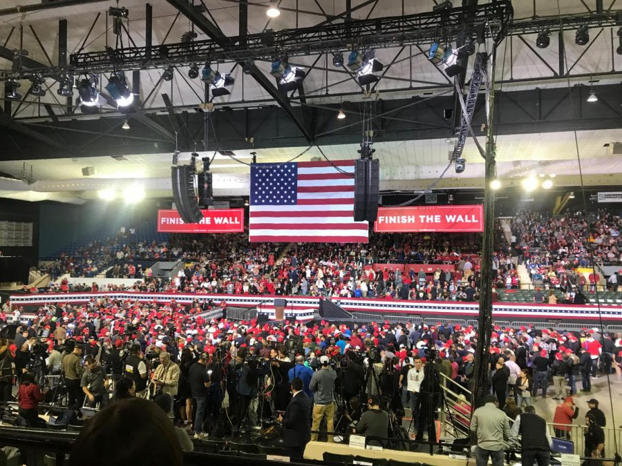 Attendees+wait+to+hear+President+Trump+address+the+audience.+
