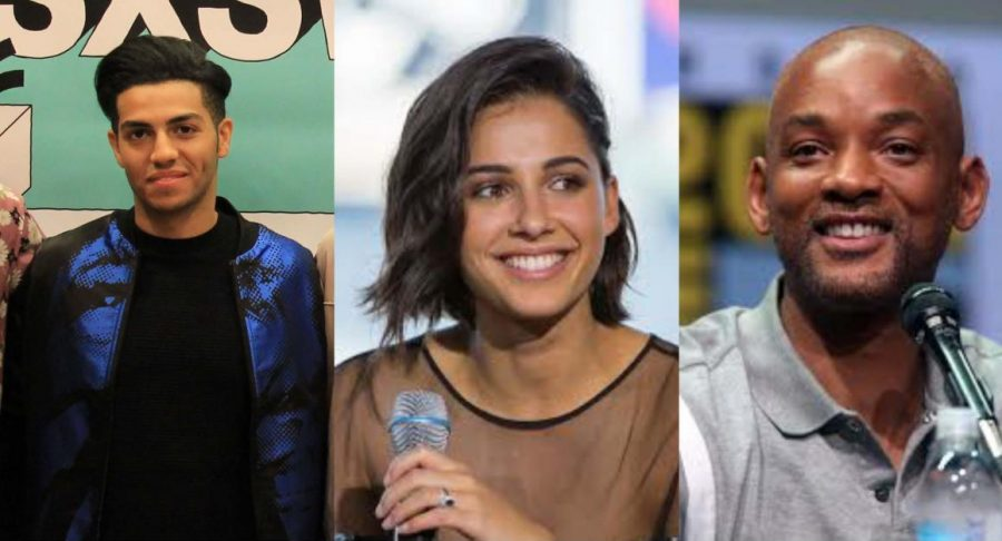 Mena Massoud, Naomi Scott, and Will Smith star as Aladdin, Jasmine, and Genie respectively.