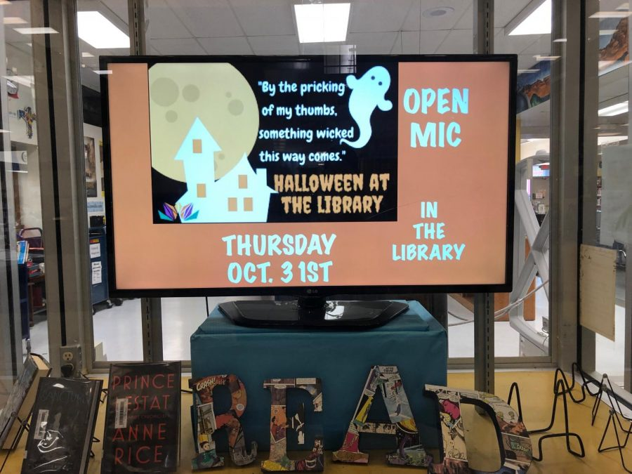 The+library+invites+all+interested+students+and+staff+to+perform+poetry%2C+play+music%2C+deliver+jokes%2C+tell+stories%2C+or+surprise+the+crowd+with+other+acts+during+the+Halloween+open+mic.+Anyone+is+also+able+to+attend+for+the+purpose+of+watching.
