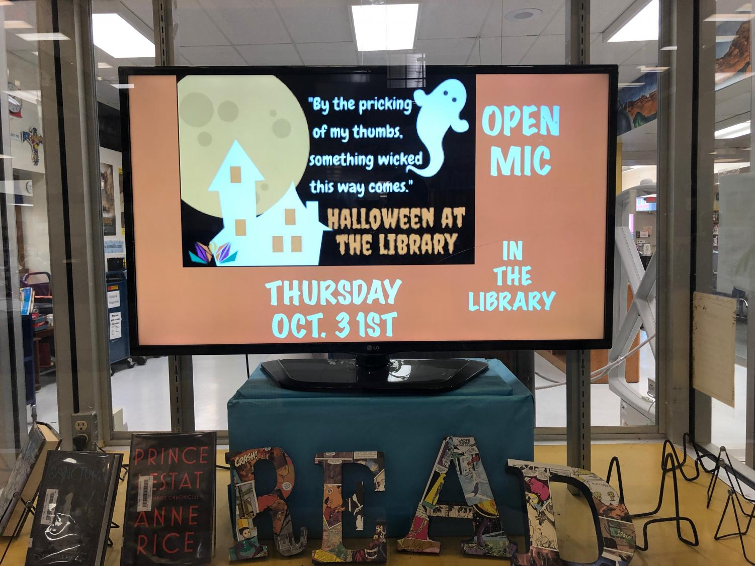 The library invites all interested students and staff to perform poetry, play music, deliver jokes, tell stories, or surprise the crowd with other acts during the Halloween open mic. Anyone is also able to attend for the purpose of watching.