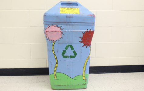 The Green Club has set up decorated recycling bins in hallways, as well as smaller ones within classrooms across campus.