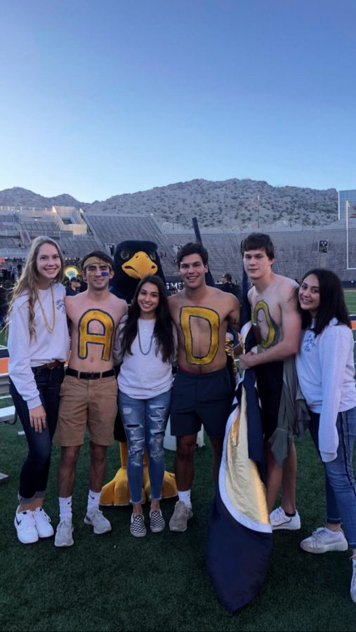 Spirit leaders prepare for the Westside Bowl game, an example of just one of the opportunities to get involved at school.