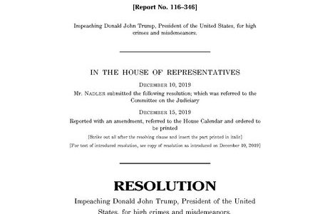 The House of Representatives passed the articles of impeachment on Dec. 18.