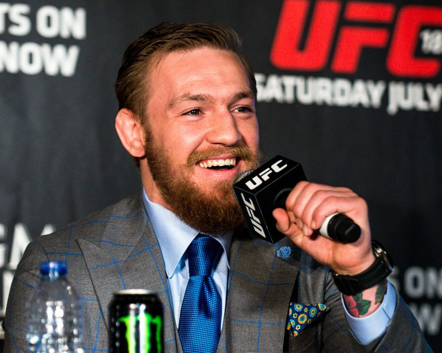 McGregor sits at a press conference prior to the Jose Aldo fight in December of 2015.