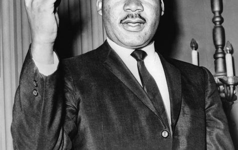 Civil rights activist, M.L.K., speaking during a candid shot