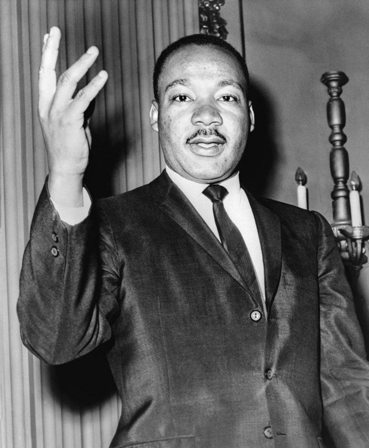 Civil rights activist, M.L.K., speaking during a candid shot