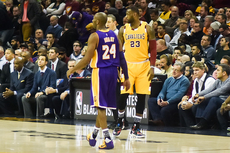 Kobe Bryant and Lebron James are shown in a 2016 game in Cleveland.