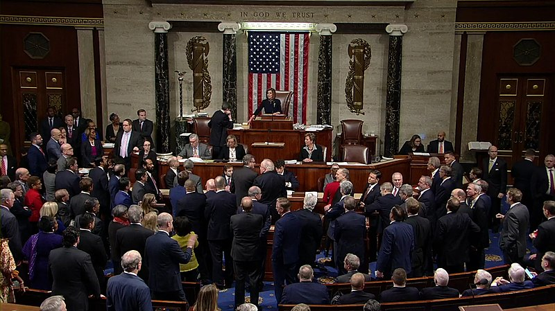 The House of Representatives meeting to discuss the implications of President Trump's actions then promptly voting for impeachment.