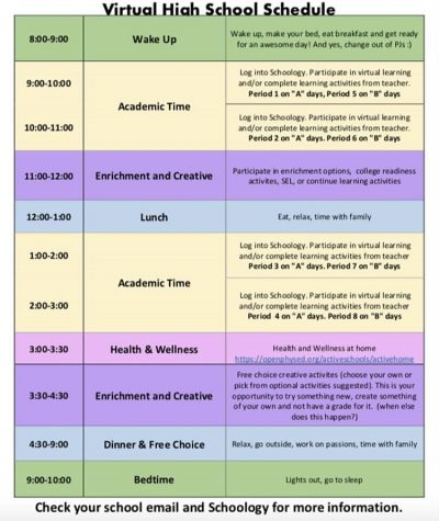 """The new schedule shortens classes to one hour each and provides  """"enrichment and creative"""" and """"health and wellness"""" time to encourage a well-rounded daily routine."""
