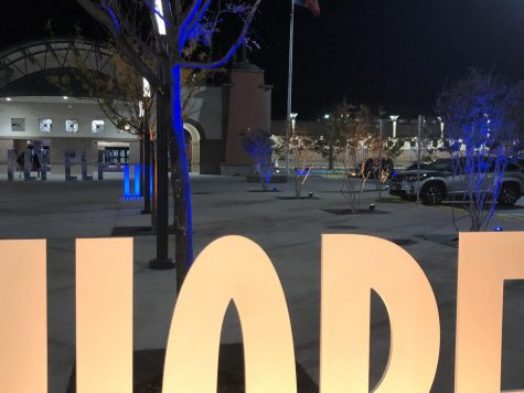 "Trees and decorations with words like ""hope,"" ""love,"" and ""dream"" are lit up in a different school"